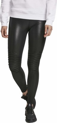 Urban Classics Women's Kunstleder Leggings aus Lederimitat mit Elementen-Ladies Faux Leather Biker Treggins