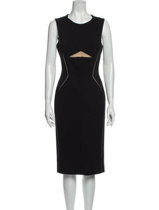 J. Mendel Crew Neck Midi Length Dress Black