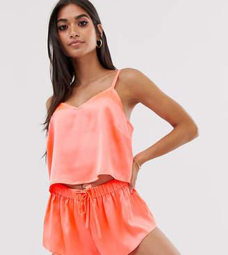 Asos DESIGN Petite exclusive satin neon pyjama short set-Orange