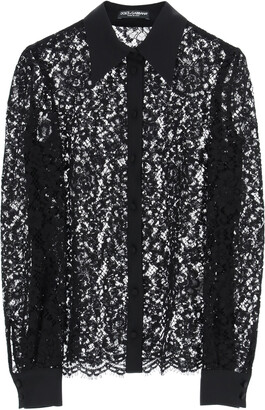 Dolce & Gabbana CORDONET LACE SHIRT 38 Black Cotton, Silk