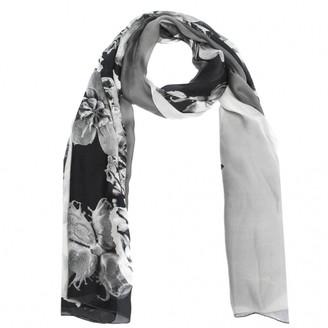 Roberto Cavalli Monochrome Floral Print Silk Scarf