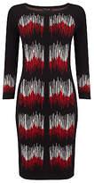 Phase Eight Zarah Zig Zag Dress, Black/Red