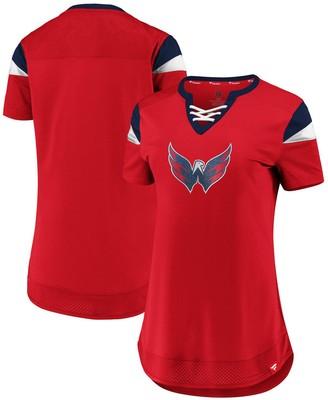 Women's Fanatics Branded Red Washington Capitals Iconic Athena Lace-Up V-Neck T-Shirt