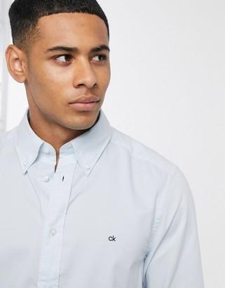 Calvin Klein logo oxford long sleeve shirt-Blue