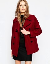 Gloverall Reefer Coat in Cranberry