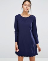 Yumi Long Sleeve Shift Dress With Crochet Detail
