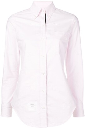 Thom Browne Pink Duck Embroidery Point Collar Shirt