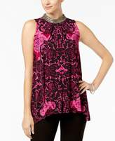 Alfani Embellished Printed Top, Created for Macy's