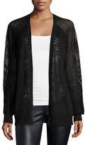 Halston Mesh-Inset Combo Sweater, Black