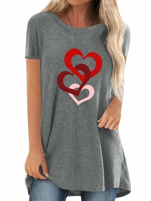 Dresswel Womens Tunic Tops Love Heart Graphic Print Tee Shirts Crew Neck Short Sleeve Tshirt Loose Blouse Grey