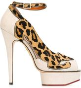 Charlotte Olympia 'Leopardess' pumps - women - Linen/Flax/Leather/Pony Fur - 37.5