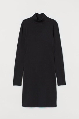 H&M Fitted Ribbed Dress - Black