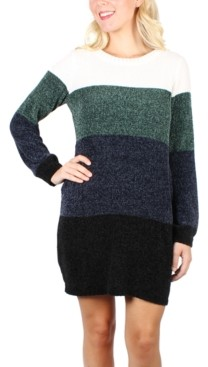 Crystal Doll Juniors' Striped Chenille Sweater Dress