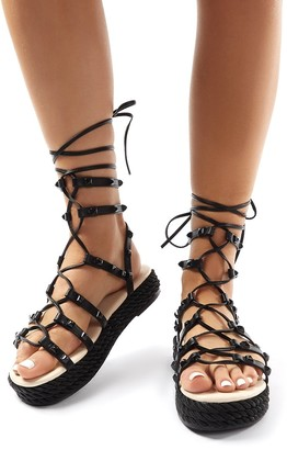 Public Desire Uk Thea Lace Up Studded Gladiator Sandals