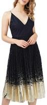 Topshop Women's Metallic Hem Pleated Lace Midi Dress