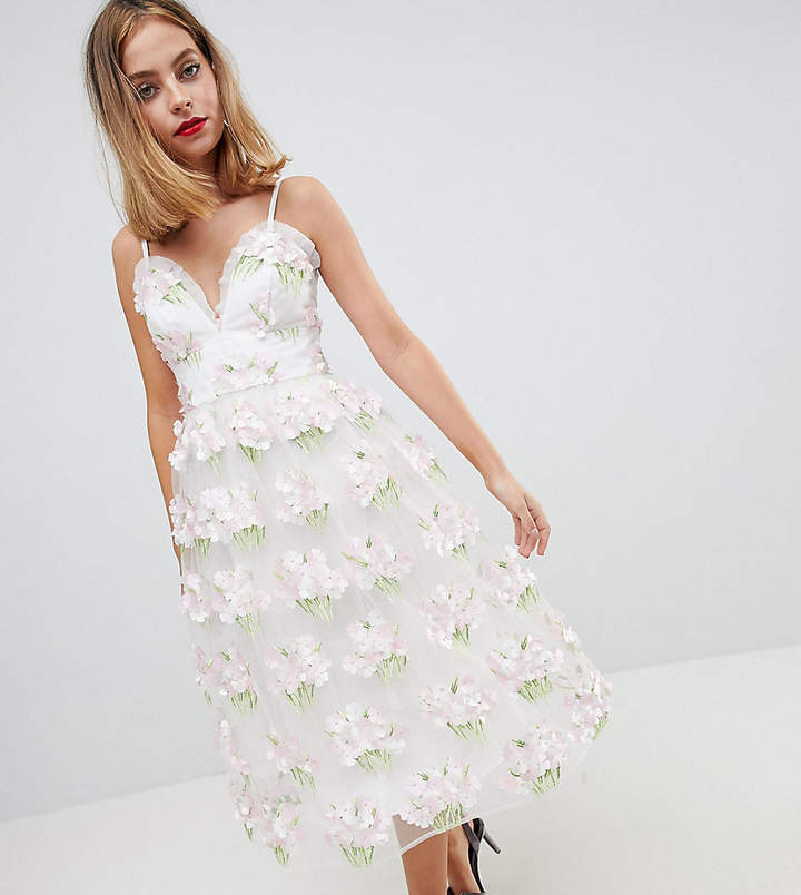 EDITION Petite 3D Floral Cami Midi Prom Dress