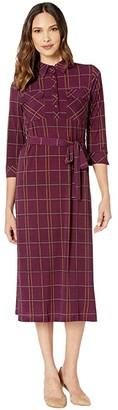 Donna Morgan Plaid Button Down Shirt Matte Jersey Dress (Magenta/Mustard) Women's Dress