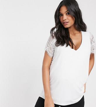 Asos Maternity   Nursing ASOS DESIGN Maternity nursing lace sleeve detail in white