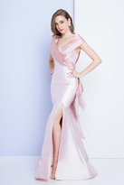 Terani Couture 1721E4147 V Neck Trumpet Gown with Back Ruffled Panel