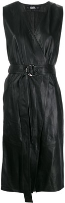 Karl Lagerfeld Paris Leather Wrap Dress