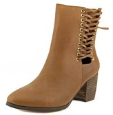 Cynthia Vincent Montana Women Round Toe Leather Brown Ankle Boot.