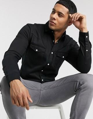 Asos DESIGN skinny fit western organic denim shirt in black