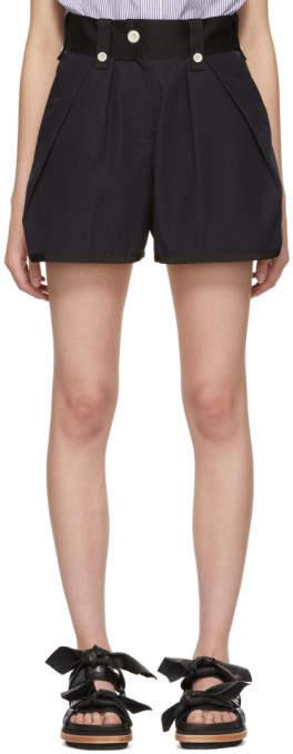 Sacai Black and Navy Canvas Shorts