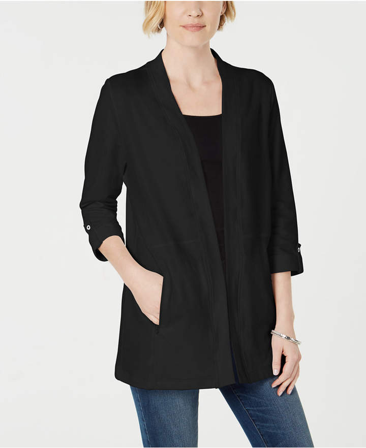 Karen Scott Zip-Pocket Cardigan