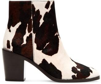 Frye Georgia Cow-Print Calf Hair Ankle Boots