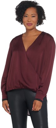 Lisa Rinna Collection Cross-Over V-Neck Blouse