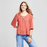 Mossimo Women's Woven Lace-Up Blouse