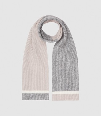 Reiss WESS WOOL COLOUR BLOCK SCARF Grey