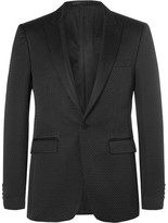 Burberry Black Slim-Fit Faille-Trimmed Cotton-Blend Tuxedo Jacket