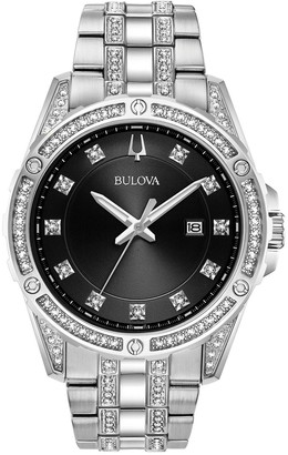 Bulova Men's Stainless Crystal Watch & Dog Tag Set
