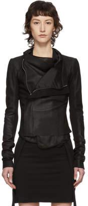 Rick Owens Black Leather Low Neck Biker Jacket