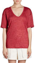 Isabel Marant Maree V-Neck Short-Sleeve Linen T-Shirt