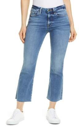 Frame Le Crop High Waist Mini Boot Raw Edge Jeans (Flora)