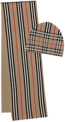 BURBERRY KIDS Icon Stripe wool scarf and hat set