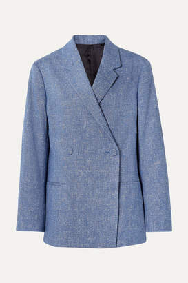 Totême Loreo Oversized Double-breasted Melange Stretch Cotton And Linen-blend Blazer - Blue
