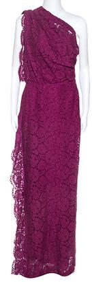 Carolina Herrera CH Purple Lace One Shoulder Maxi Dress M