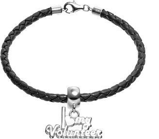 """Insignia Collection Sterling Silver & Leather """"I Love My Volunteer"""" Charm Bracelet"""