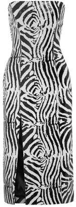 Halpern Strapless Sequined Tulle Midi Dress