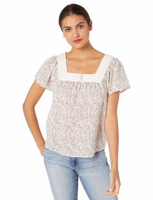 Lucky Brand Women's Floral Square Neck Flutter Sleeve TOP