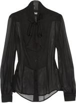 D&G Pussy-bow silk-chiffon blouse