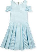 David Charles Childrenswear Cold-Shoulder Shadow Stripe Circle Dress, Blue, Size 8-16