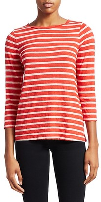 Majestic Filatures Multi Stripe Linen-Blend Tee