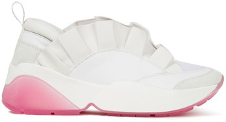 Emilio Pucci Ruffled Leather, Suede And Mesh Sneakers