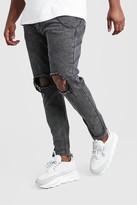 boohoo Mens Grey Big And Tall Rigid Skinny Jean With Chain, Grey