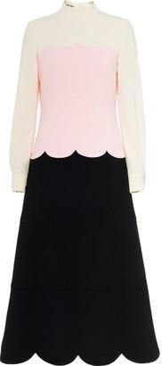 Miu Miu Three-Tone Scalloped Dress
