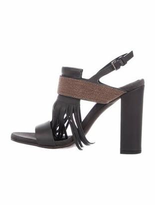 Brunello Cucinelli Monili Fringe Sandals w/ Tags Grey